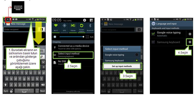 Samsung klavye dili değiştirme