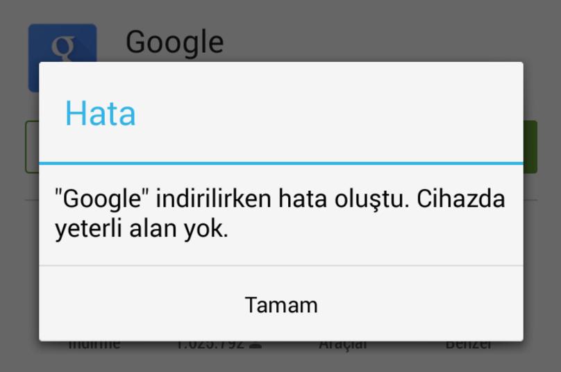 Google Play Cihazda Yeterli Alan Yok Hatasının Çözümü