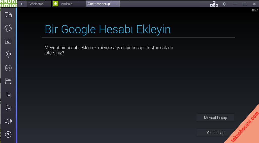Daha önce açmış olduğunuz Google Play hesabınızı ekliyorsunuz. İsterseniz yeni bir hesap açabilirsiniz.