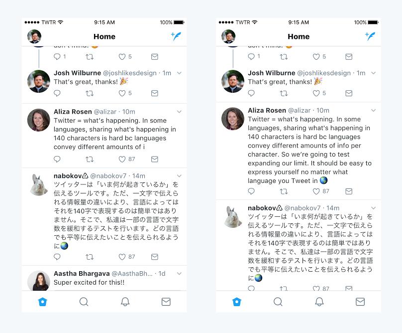 Zaman çizelgesinde 140 (sol) ve 280 (sağ) karakter Tweetler var
